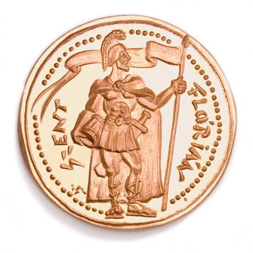 St. Florian - commemorative medal 1990, copper, beaten, 52 mm, Metropolitan Fire Brigade, Budapest, Hungary