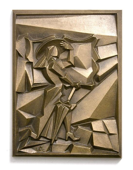 Képtárban, 1991., bronz, öntött, 185 x 140 mm