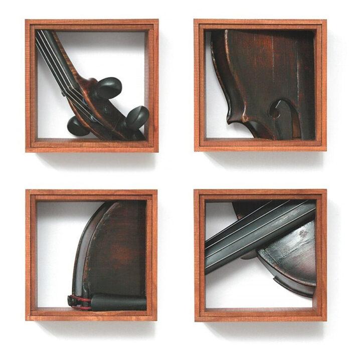 Quartet, 2004., violin, wood, mixed media, 114 x 114 - 114 x 114 mm