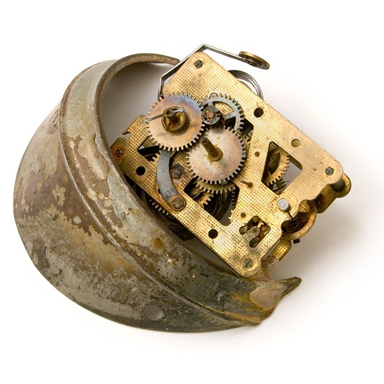 Time, 2014., iron, brass, clockwork, mixed media, 110 mm