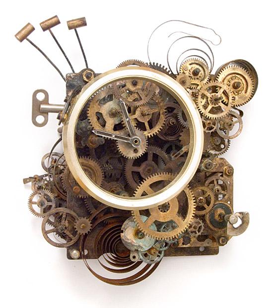 Hommage à Charlie Chaplin, 2014., iron, brass, clockwork &c., mixed media, 175 x 140 mm