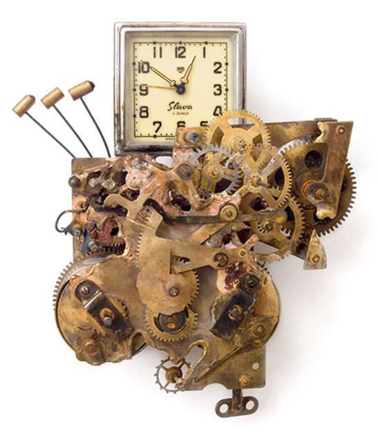 Hommage à Charlie Chaplin, 2014., iron, brass, clockwork &c., mixed media, 210 x 170 mm