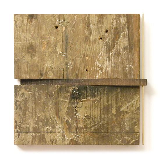 Dombormű #73., 2011., vas, fa, sárgaréz, vegyes technika, 22 x 22 cm