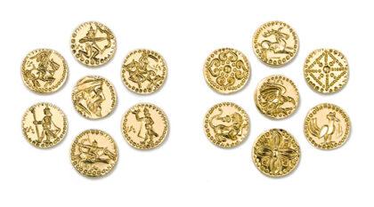 Seven Leaders, obverse - reverse, 1991, copper, struck, gilt, 20 mm / pc