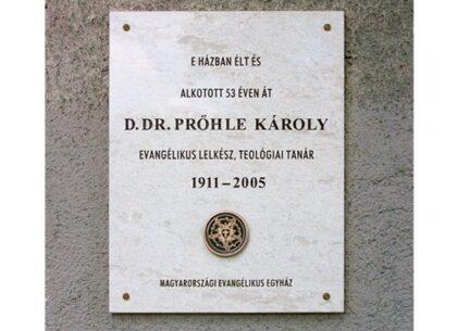 D. Dr. Prőhle Károly emléktábla, bolgár mészkő, 90 x 70 cm, plakett, bronz, öntött, 150 mm